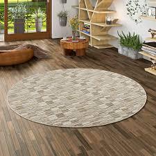 streifenberber teppich modern stripes beige rund ebay