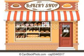 Bakery Shop Front Veiw Flat Icon Vector