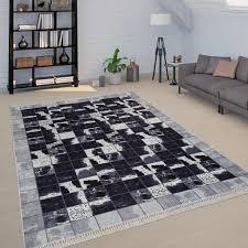 teppich wohnzimmer schwarz weiß kuhflecken muster karo muster patchwork weich grösse 160x230 cm