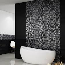 Blue Mosaic Bathroom Mirror by These Beautiful Silver And Black Mosaic Tiles Are Made From