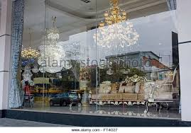 An Expensive Retail Furniture Store Displays Chandeliers In A Window Phnom Penh Cambodia