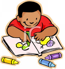 Royalty Free Clipart Image African American Boy Coloring a Picture