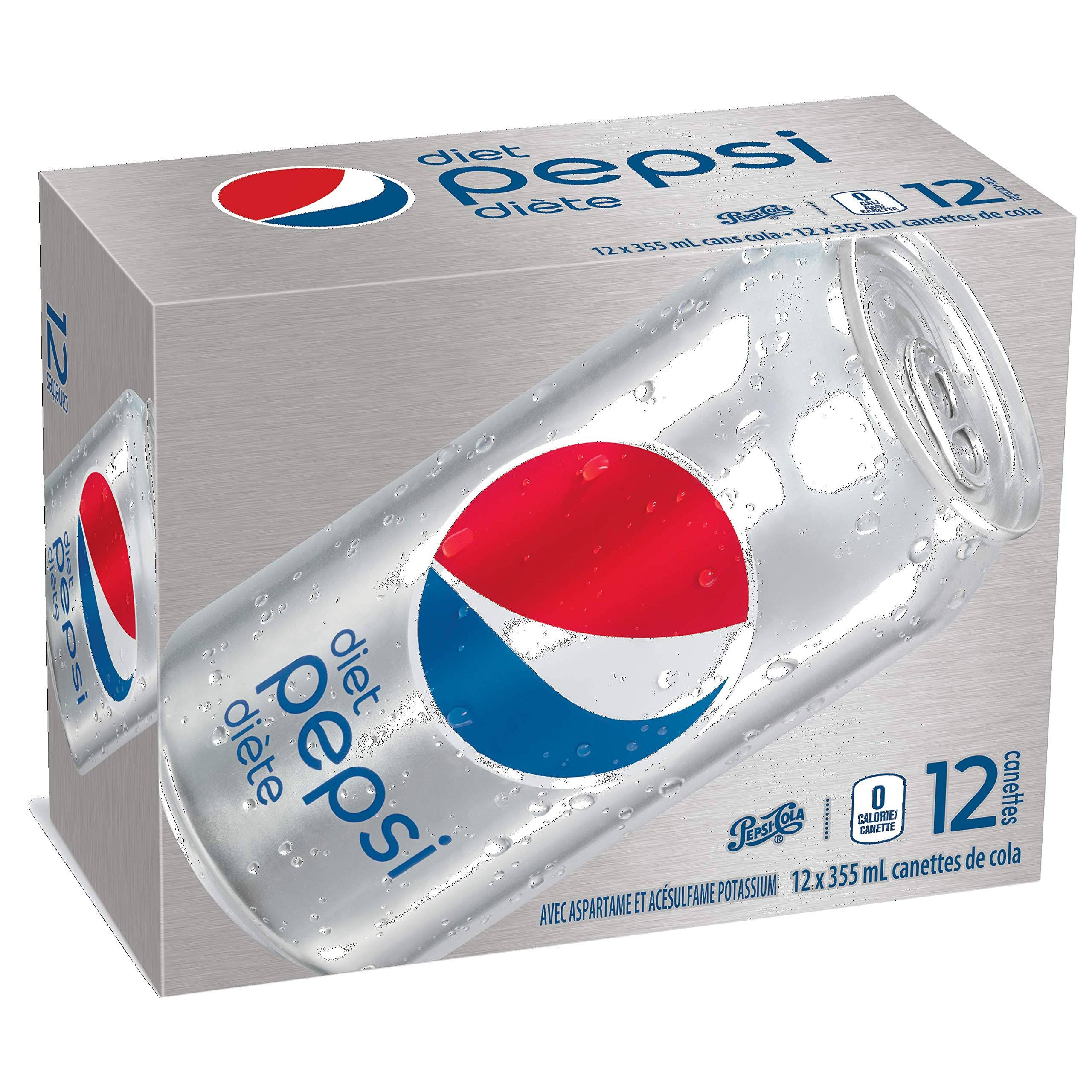 Diet Pepsi Soft Drink Pop Cans, 355mL/12oz., 12 Pack, {Imported from Canada}