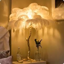 moderne luxus strauß kupfer tisch le straußen feder tisch licht romantische prinzessin schlafzimmer le büro le