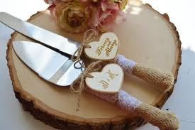 Rustic Wedding Cake Knife Customized Burlap
