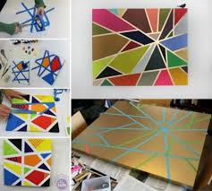 This DIY Geometric Painting With Tape Technique Is Easy And Fun Learn How To Make Any Animal In Shapes