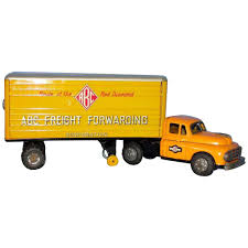 100 Semi Truck Toy 1950s Tin Lithographed With Trailer ABC Freight Forwarding Good Condition