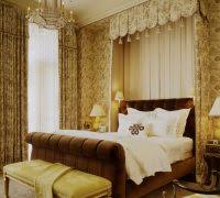 Bedroom Ideas With Sleigh Bed Traditional Brown High Ceilings Gold Accents