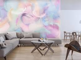 fototapete federn pastell rosa blau fototapeten tapete wandbild grün feder lila violett m6632