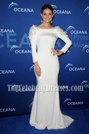 maria menounos white long sleeve evening dress oceana partners