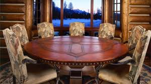 Round Dining Table Seats 8 Stylish Alluring Rustic For Room Inside 26