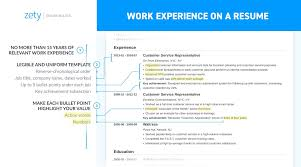 Example Of Work Experience Resume Section