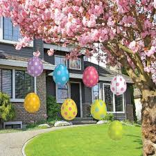 Easter Egg Decoration Hang Colorful Eggs Under The Branches Of Beautiful Flower Tree Is
