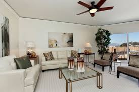 contemporary living room with flush light carpet in san