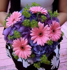 Bridal Bouquet With Purple Hydrangea And Pink Mini Gerbera Daisies