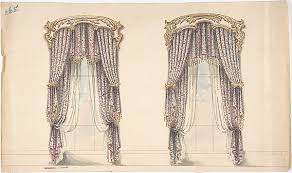 Gold And White Curtains by Anonymous British 19th Century Design For Pink Mauve And