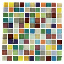Smart Tiles Mosaik Multi by 11 Sq Foot Stick On Backsplash Fruit Platter 1x1 Glass Tile