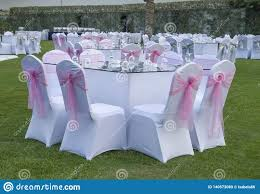 Round Tables Decorated For A Party Or Wedding Reception In ...