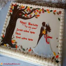 Happy Birthday Cake For Lovers Couple With Name