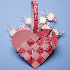 Valentines Day Basket Made With Marbled Paper