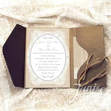 Burlap And Lace Cardstock Paper Wholesale Rustic Pocket Wedding Invitations With Twines