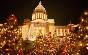 USA Arkansas Little Rock State Capitol Christmas Time Night