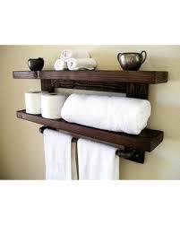 Floating Shelves Towel Rack Shelf Wall Wood Bathroom Storage Organization Toilet Paper