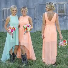 2017 mint orange high low cheap bridesmaid dresses under 70