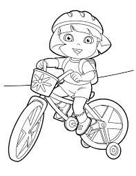 Bike Coloring Page Dora Halloween