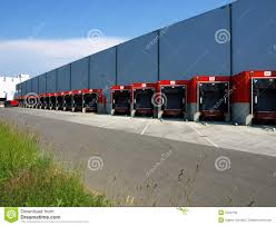 Red Loading Docks Stock Image. Image Of Shipping, Trucking - 5422139