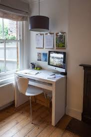 INTERIOR Amazing Minimalist Apartment Workspace Disign Timber White Workdesk 4 Legs Chair IMac On Desk Tubular Chandelier Wooden Floor Writing Pad