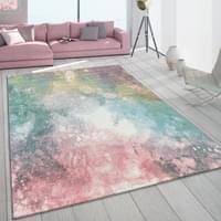 teppich wohnzimmer bunt rosa grün türkis pastell real de
