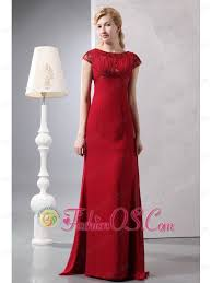 Simple Wine Red Column Scoop Beading Mother Of The Bride Dress Brush Train Chiffon