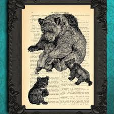 Mother Bear And Baby Bears Art Print Upcycled Book Page