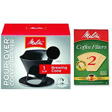 Melitta Pour Over Coffee Cone Brewer 2 Filter Natural Brown Combo Set Black