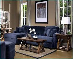 Velvet Blue Navy Sectional With Chaise X Base Wooden Coffee Table In Rustic Style