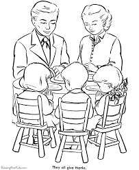 Thanksgiving Dinner Coloring Page Sheets Family Praying Over Pages Including Scenes Turkeys Cornucopia