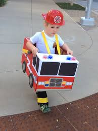 Toddler Preschool Boy Fireman Fire Truck Halloween Costume Cardboard ...