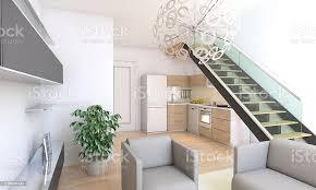 duplex wohnzimmer interieur kombiniert küche stockfoto und mehr bilder architektur
