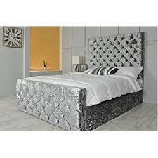Gray Velvet King Headboard by Luxury Chesterfield Style Bed In Crushed Velvet In Diamante With