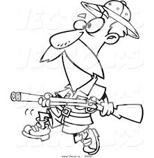 Vector Of A Cartoon Big Game Hunter With Rifle Black And White Outline