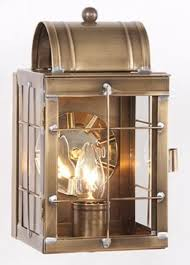 brass entry lantern sconce handcrafted weathered colonial wall