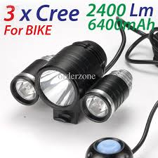3x CREE XM L T6 LED 2400Lm Bike Bicycle Light Lamp Head Lamp Head
