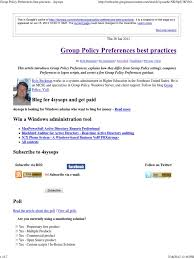 Group Policy Preferences Best Practices - 4sysops | Group Policy ...