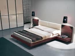 Bedroom Low Profile Bed Padded Headboard Glossy White Wardrobe