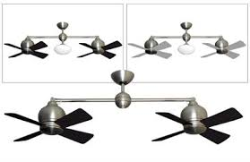 Twin Star Ii Dual Motor Ceiling Fan by Metropolitan Double Ceiling Fan Satin Steel 2 X 24