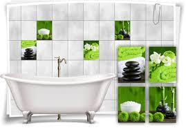 fliesen aufkleber spa wellness grün steine salz bambus