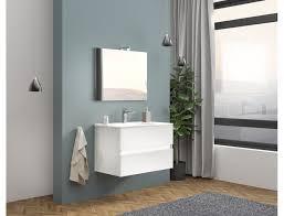 badezimmer badmöbel 80 cm boston aus glänzend weiß holz mit keramik waschtisch zubehör mit spiegel und led le