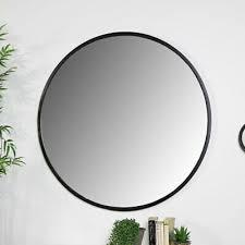 gross rund schwarz metall gerahmt wand spiegel modern
