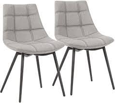 songmics esszimmerstühle 2er set moderne küchenstühle polsterstühle mit eisenbeinen und leinen baumwoll bezug loungesessel grau ldc84gyx